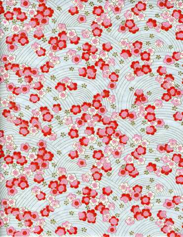 876-886C Yuzen Chiyogami--pink, red, and white plum blossoms on light blue background