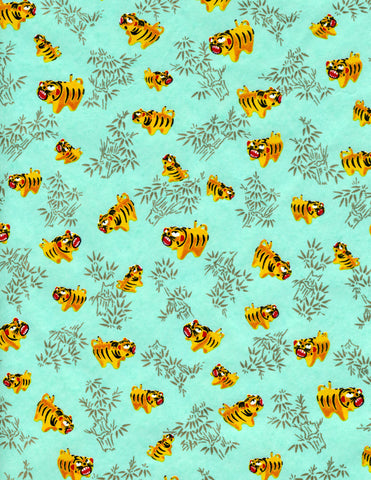898C Yuzen Chiyogami--orange-yellow tigers on light turquoise background with gold accents