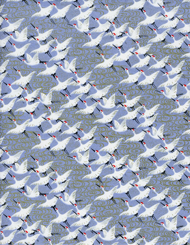 900C Yuzen Chiyogami--white cranes on light blue background with gold accent