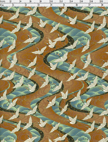 926C Yuzen Chiyogami--white cranes on light brown background with blue-green waves