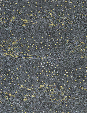 512-93C Yuzen Chiyogami-- Floral and leaf outlines in white and gold on a black background