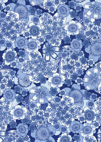 946C Yuzen Chiyogami--White and blue floral pattern
