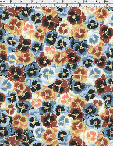 948C Yuzen Chiyogami--An abundance of cheerful, tan, blue, brown and white pansy blossoms litter this paper