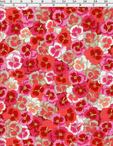 948-949C Yuzen Chiyogami--An abundance of cheerful, hot pink, pink, red, and white pansy blossoms litter this paper