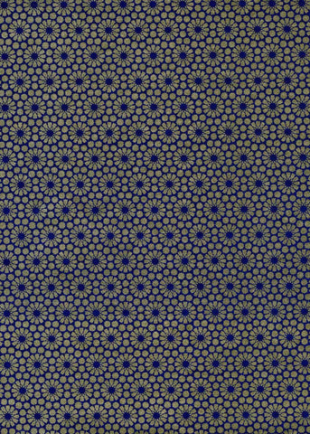 950C Yuzen Chiyogami--Gold flower blossom pattern on dark blue background