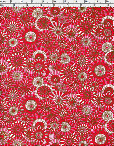 952-953C Yuzen Chiyogami--It is raining, and we are looking down at a multitude of parasols in white and shades of red and pink