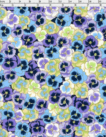 948-956C Yuzen Chiyogami--An abundance of cheerful, blue, mint green, purple, and lilac pansy blossoms litter this paper.