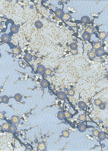 966-967C Yuzen Chiyogami--Blue flower blossoms on branches with a blue background