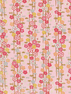 992-993C  Yuzen Chiyogam--Colorful strings of flowers in yellow, pink, and grey on a pink background