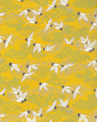 1004-1005C  Yuzen Chiyogami--White and black cranes on a yellow background
