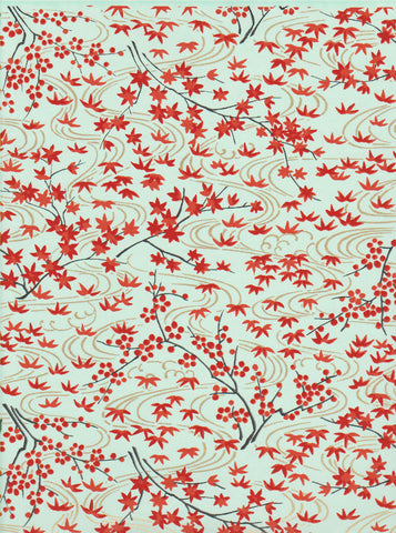CHY1022  Yuzen Chiyogami--Autumn leaves in oranges and reds on a faint blue background with swirls mimicking water