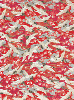 CHY1024-1025 Yuzen Chiyogami--White and black cranes on a red background with red and white cherry blossoms