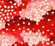 E711 Yuzen Chiyogami--red background with pink and white flower petals