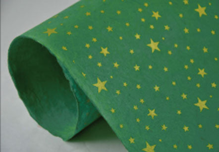 "Stars--gold ink on green paper 20x30"" 20gms"