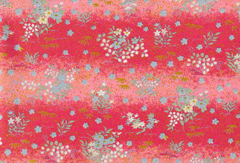G16 Kirara Yuzen Chiyogami--pink, silver and blue flowers with red background