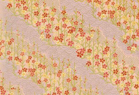 G48 Kirara Yuzen Chiyogami--light peach, pink, and gold with flower stalks