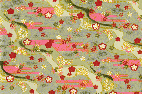 G5 Kirara Yuzen Chiyogami--white, red, and pink florals on light green background