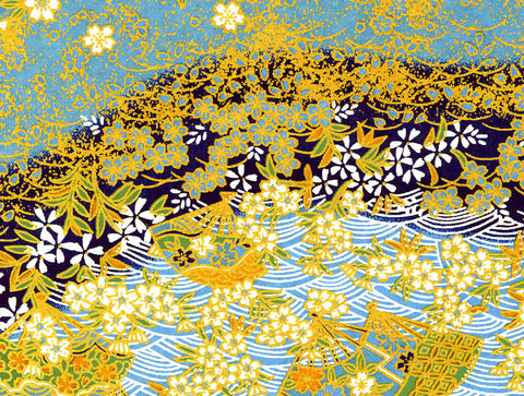 K6711 Yuzen Chiyogami--fans and flowers on a dark blue and turquoise background