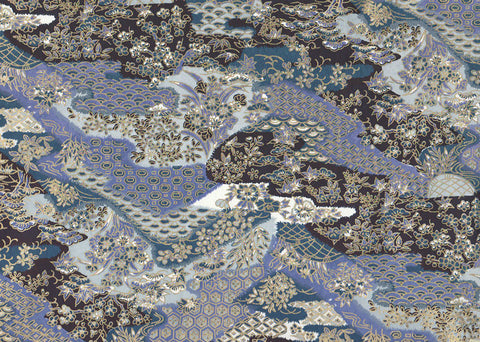 KF7421 Yusenshi--black and aizome blue with gold prints