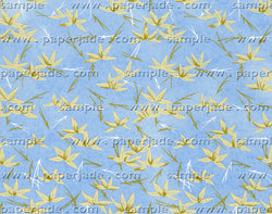 SP14 Yuzen Chiyogami--blue background with light green bamboo leaves