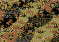 UC11 Urushi Yuzen Chiyogami--traditional pattern of leaves and blossoms in black, gold, copper