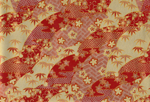 UC12 Urushi Yuzen Chiyogami--traditional pattern of leaves and blossoms in  gold, silver, and brick red