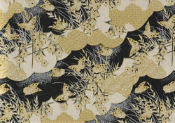 UC4 Urushi Yuzen Chiyogami--gold, silver, and black butterflies and grass