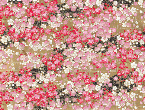 KT7935 Yusenshi Chiyogami--gold with pink and white flowers
