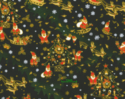Santa Chiyo (Christmas) Yuzen Chiyogami--Yes, that's right! Santas with tan faces, reindeer, and sleighs on a dark green background