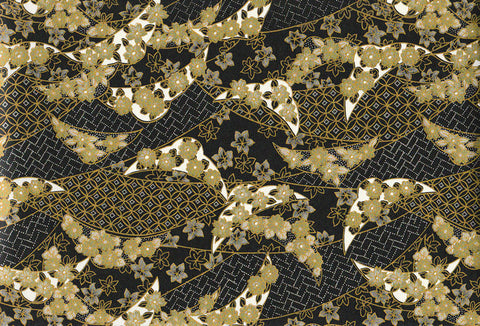 UC27 Urushi Yuzen Chiyogami--gold, green, and black leaves and blossoms.