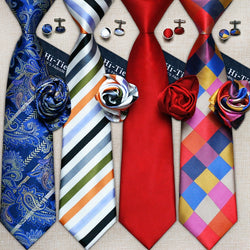 40 Styles Gravata Ties And  Hanky Cufflink Sets. 100% Silk Neckties Ties for Men. Perfect For Business And Wedding Party