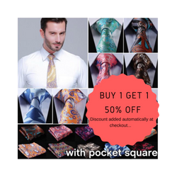 100% Silk Men Neck Ties and Pocket Handkerchief.