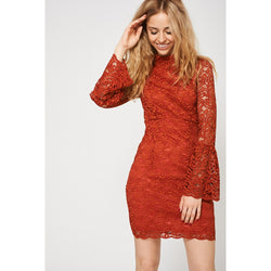 Bell Sleeve Terracotta Lace Dress Ex-Branded-Women - Apparel - Dresses - Evening-Flying Ninja Fashion