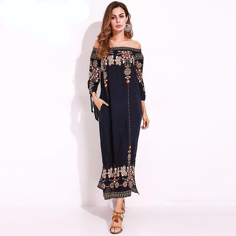 015d4dcb261bb ... 2018 Summer Beach Boho Long Dress. Women Retro Flower Print