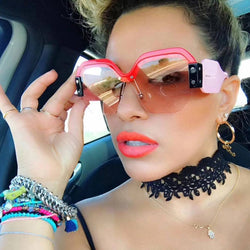Sexy Rimless Oversized Sunglasses.  Women Vintage 2018 Luxury Sun Glasses.  Big Frame Shades.