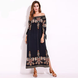 2018 Summer Beach Boho Long Dress. Women Retro Flower Print, Loose Off Shoulder Split Maxi Dress. Vacation Vestidos Plus Size 5XL