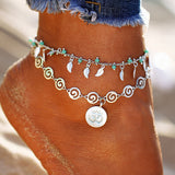 Step Out This Summer In Our Beautifully Designed Leaf Flower Multilayer Anklet. Vintage Style Charm Chain Foot Jewelry