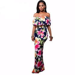 Women Apparel Off-the-shoulder Maxi Dresses. Navy Blue, Roses Print Gowns. Sale-Women Apparel-Flying Ninja Fashion