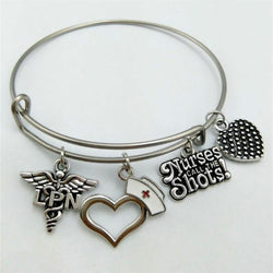 LPN Antique Silver Plated Charms Stainless Steel Wire Bangle.-Jewelry-Flying Ninja Fashion