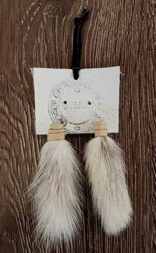 Mink Tail and Deer Hide leather Earings.