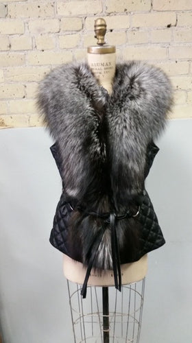 Leather Vest with Silver Fox - Sydney Gitterman Furs