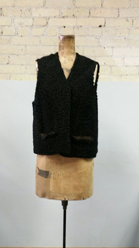 Persian Lamb Vest with Mink Pocket Trim