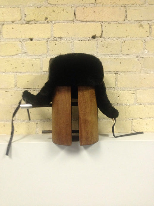 Black Mouton Trooper Hat with Leather Top