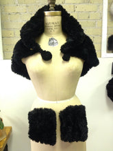 Knitted Sheared Beaver Cape with Detachable Wrist Cuffs