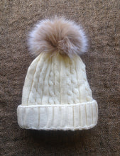 Knitted Hat with Fox Fur Pom Pom