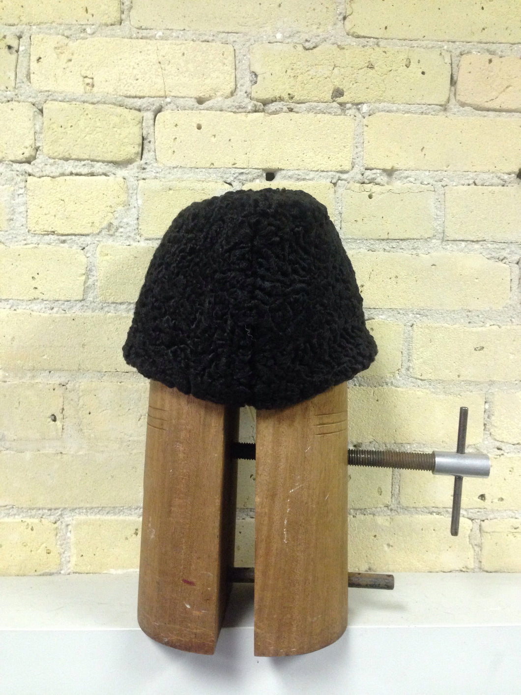 Black Persian Lamb Wedge Style Hat