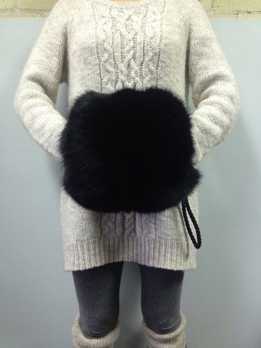Black Fox Fur Muff