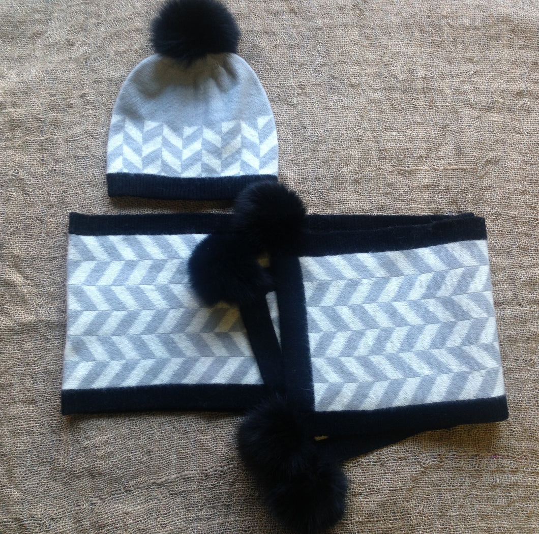 Hat and Scarf Set with Fox Fur Pom Poms
