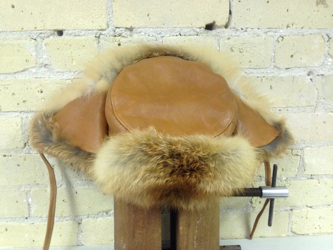 Red Fox Trooper Hat with Leather
