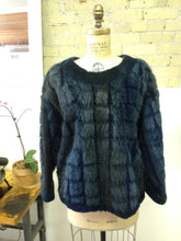 Navy & Teal Fur Sweater